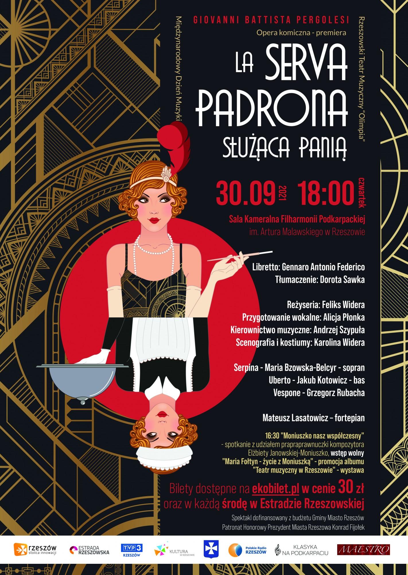 """Plakat opery komicznej """"LA SERVA PADRONA"""" przedstawiający pokojówkę i damę"""